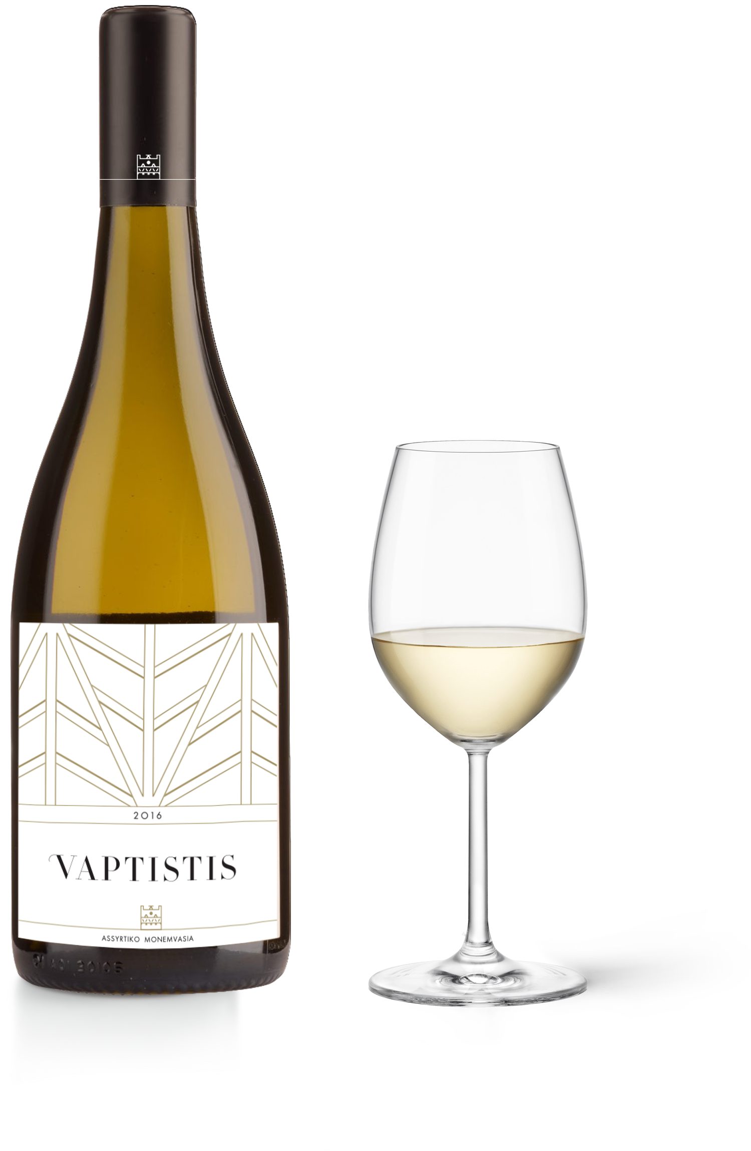vaptistis white bottle glass